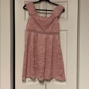 Pink off the shoulder lace dress!